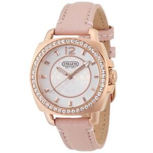 Coach Boyfriend Leather Gold Glitz Women's Watch
